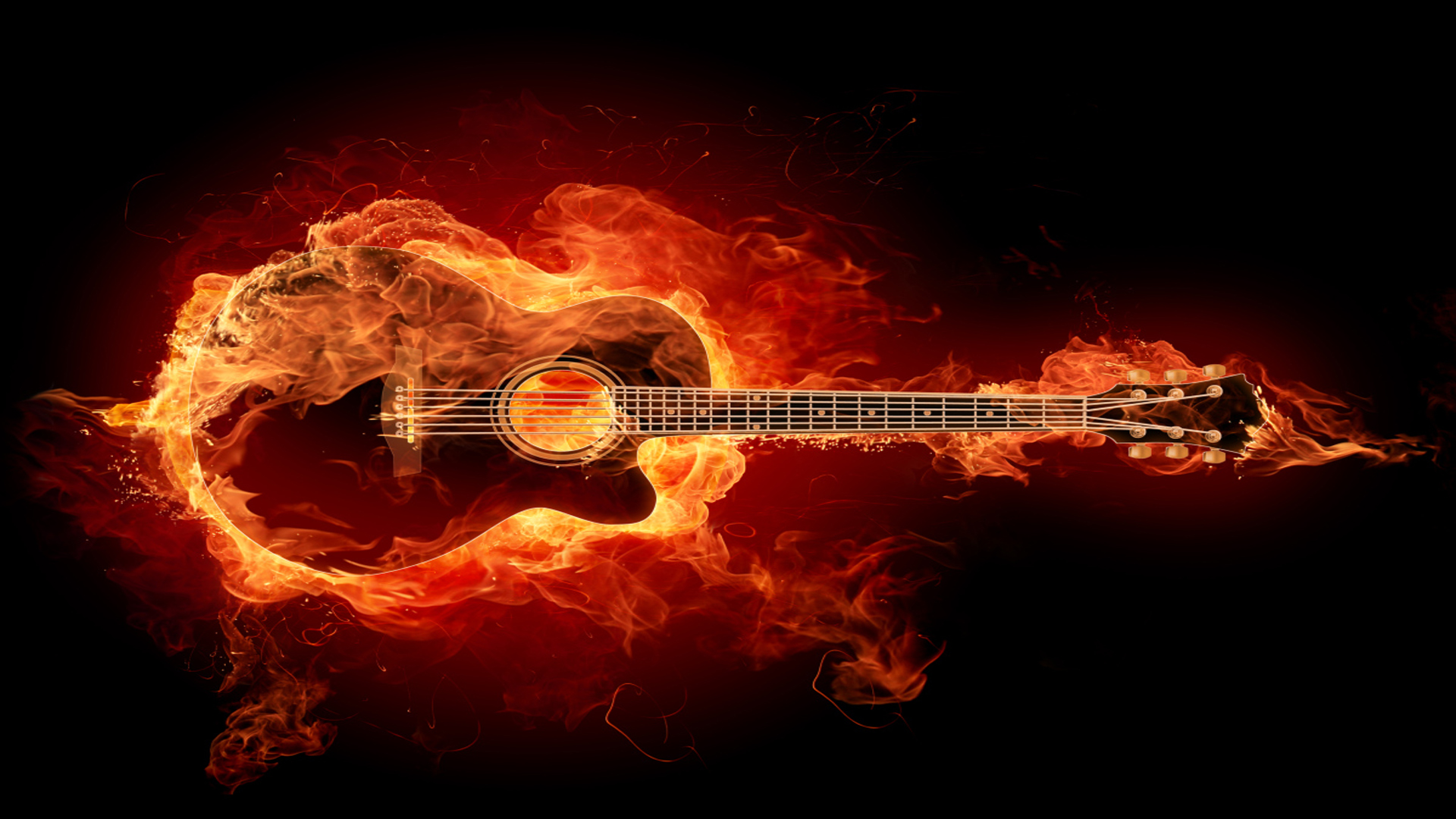 Guitar in Flames Wallpapers
