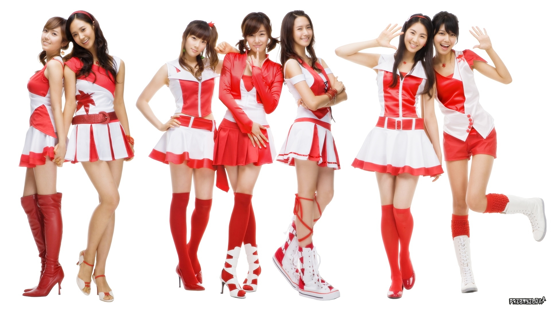 Schoolgirls in White and Red Wallpapers