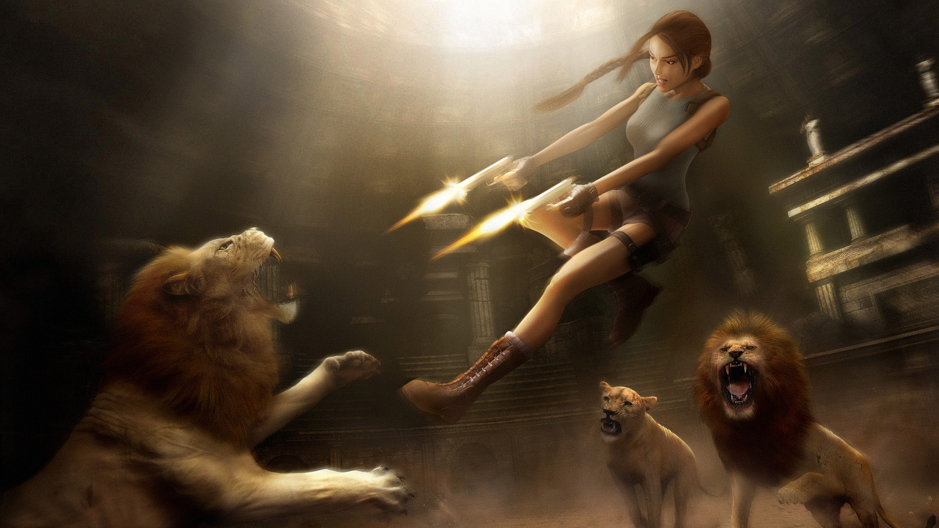 Tomb Raider - Lara vs. The Lions Wallpapers